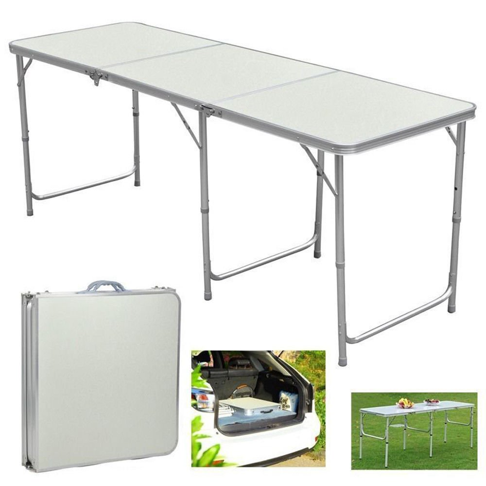 Aromdeeshopping Folding Table in Outdoor Picnic Party Dining Camping Table Portable Aluminum 6ft by Aromdeeshopping