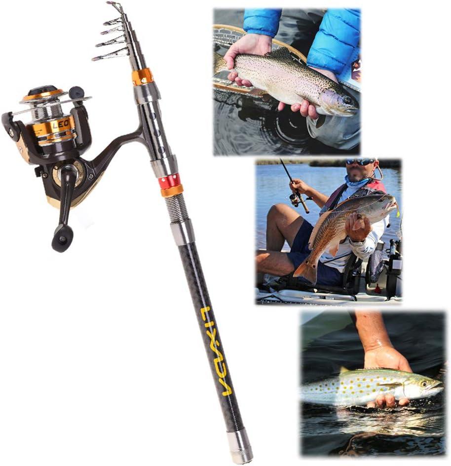 Lixada Combo de Pesca Ca/ña de Pescar y Carrete con L/ínea Se/ñuelos Ganchos Giratorios Kit de Pesca para Agua Salada y Agua Dulce