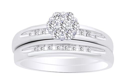 Juego de anillos de boda con forma redonda (0,25 quilates) de diamante blanco natural en oro blanco macizo de 10 quilates WG-Z1/2: Amazon.es: Joyería