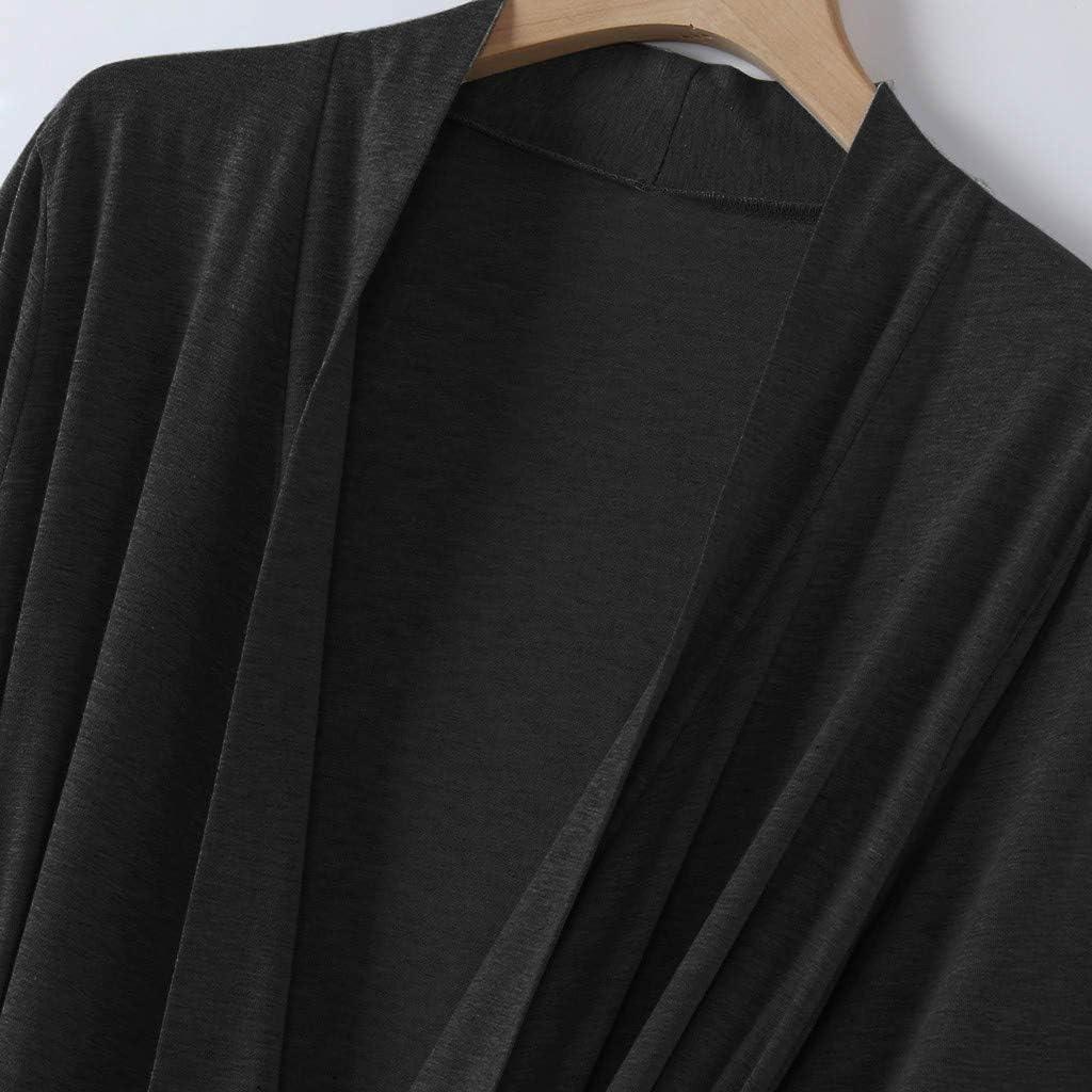 YueLove Womens Lightweight Long Bathrobe Cotton Knit V Neck Long Robes with Belt Soft Sleepwear Loungewear Pocket Dressing Gown