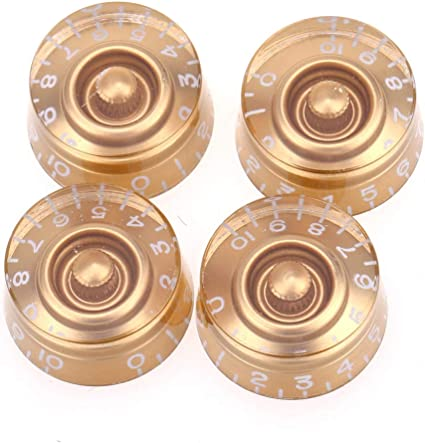Set of 4 Musiclily Pro Metric Size 18 Spline Speed Control Knobs for Epiphone Les Paul SG Electric Guitar Asia Import Guitar Bass Split Shaft Pots Red