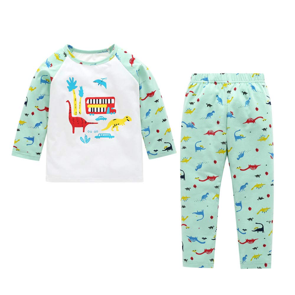 Jchen(TM) Fashion Newborn Kids Baby Boy Girl Dinosaur Print Tops+Pants 2 PCS Pajama Home Wear Outfits for 0-4 Y (Age: 0-6 Months)
