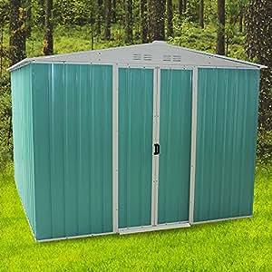 ukhomegarden Metal cobertizo, acero galvanizado al aire libre jardín cobertizo en verde y blanco