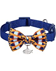 Blueberry Pet Pack of 1 Breakaway Handmade Bow Tie Cat Collar with European Crystal Bead on Fish Charm or Choker Cat Collar with Pearl Charm