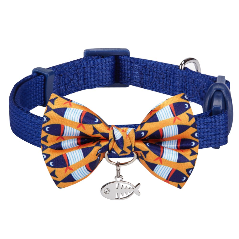 Blueberry Pet 18 Designs Timeless Navy Blue Breakaway Adjustable Chic Fish Print Handmade Bow Tie Cat Collar with European Crystal Bead on Fish Charm, Neck 9''-13'', Bow 3'' 2'' by Blueberry Pet
