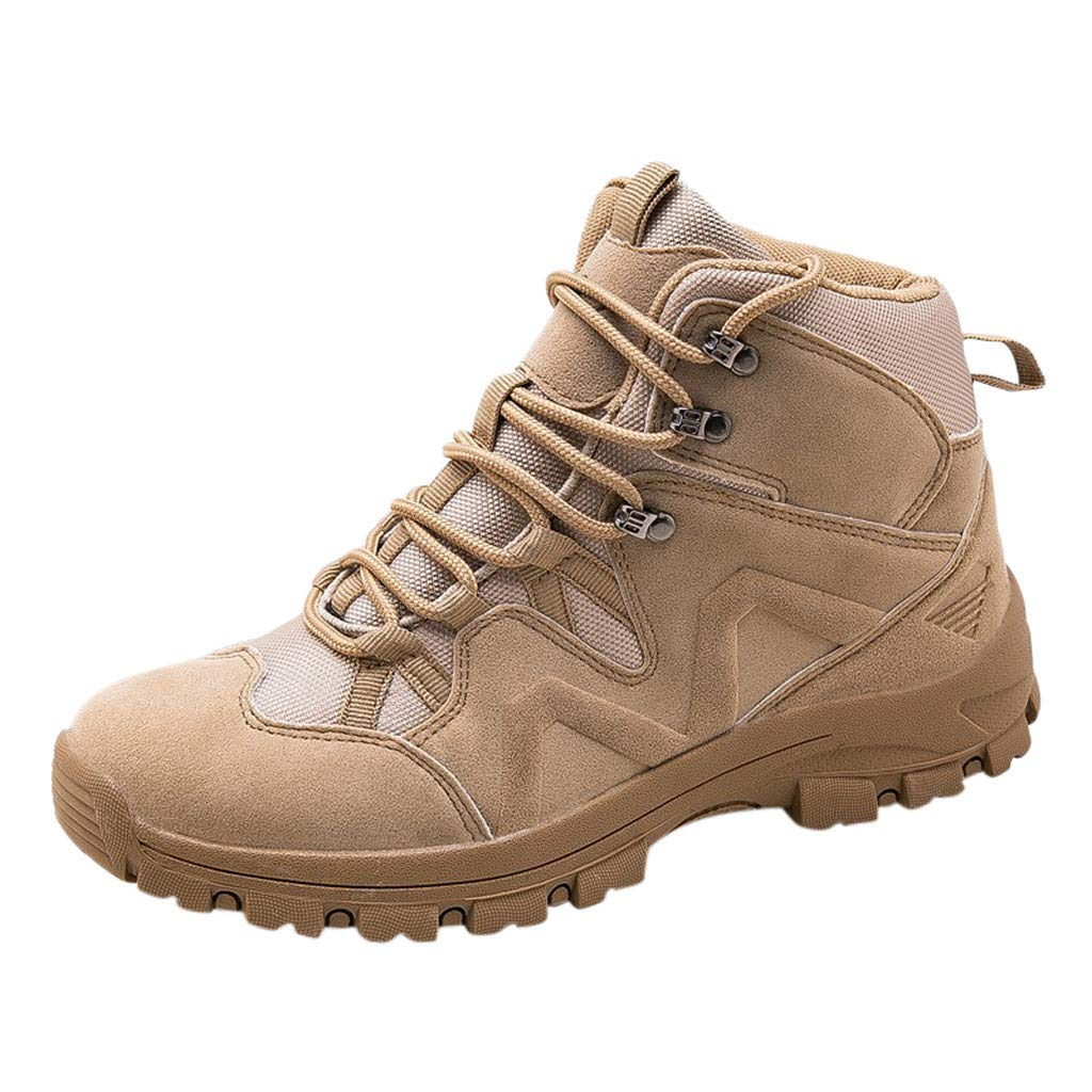Fheaven Women's Military Combat Sport Casual Shoes Desert Outdoor Hiking Leather Boots Combat Shoes Beige by Fheaven-shoes