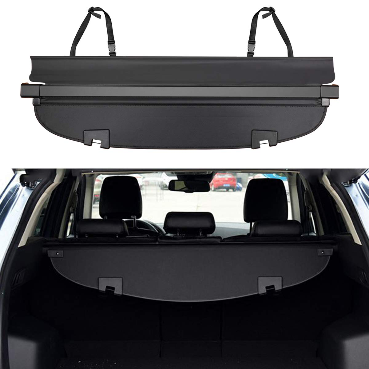 All Weather Odorless Black E-cowlboy Trunk Cargo Liner Mat Tray for Honda HRV HR-V 2014~2020 Heavy Duty Waterproof Rubber Custom Fit
