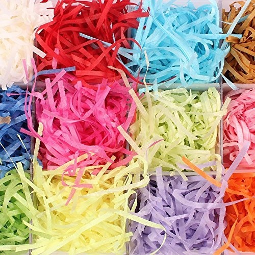 HUELE 200g Paper Shreds & Strands Shredded Crinkle Paper Raffia Paper Confetti DIY Dry Straw Gifts Box Filling Material (20g/Bag ) by HUELE