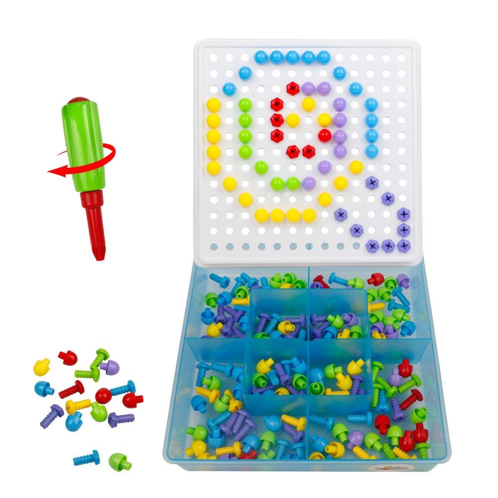 Chiodini Giocattolo con Vite Mosaici Gioco Puzzle Costruzioni in Plastica per Bambini 3 Anni, 352 Pezzi