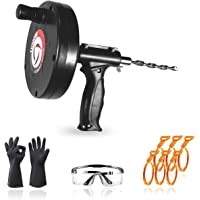 Plumbing Snake, Drain Auger 25 Feet, Drain Clog Remover with 6 Sink Snakes/Work Glove/Glasses, Hair Clog Remover for…