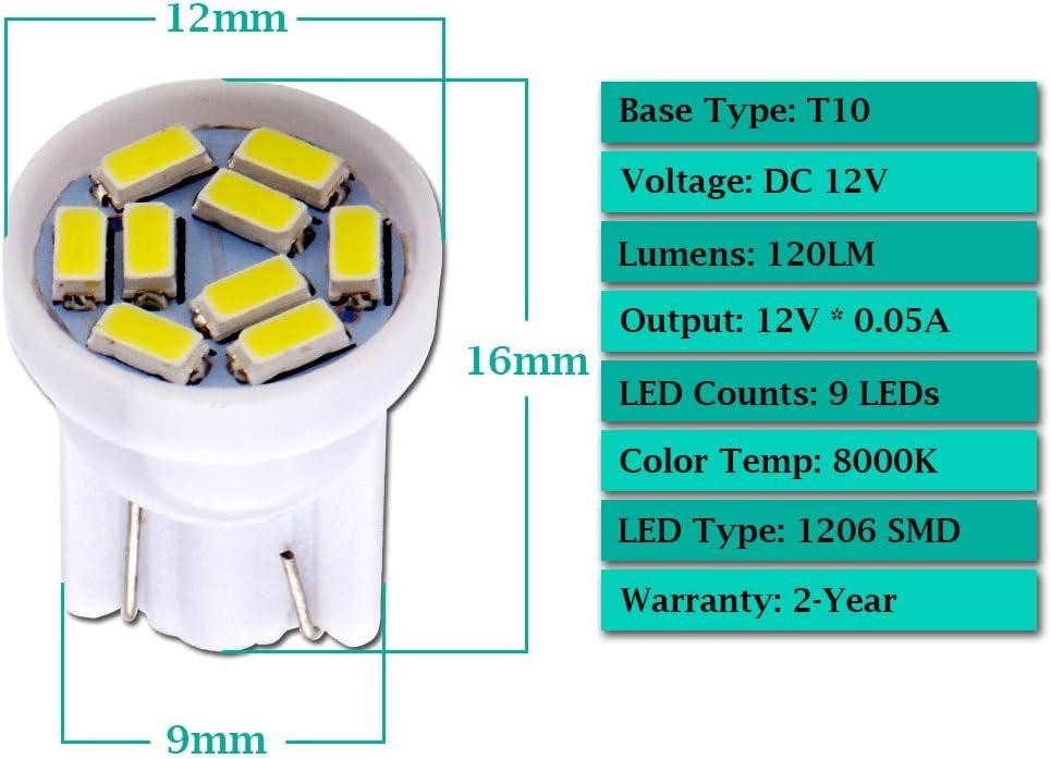 GLL 20pcs Blanc T10 501 Ampoules LED 194 168 W5W 1206-9SMD Wedge T10 Ampoules Pour D/ôme Int/érieur de Voiture Tableau de Bord du Coffre Feux de Plaque Dimmatriculation