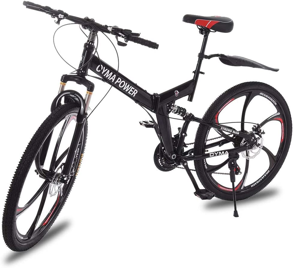 Dirance Folding Mountain Bike 26in 21 Speed Bicycle Full Suspension MTB Bikes for Adult