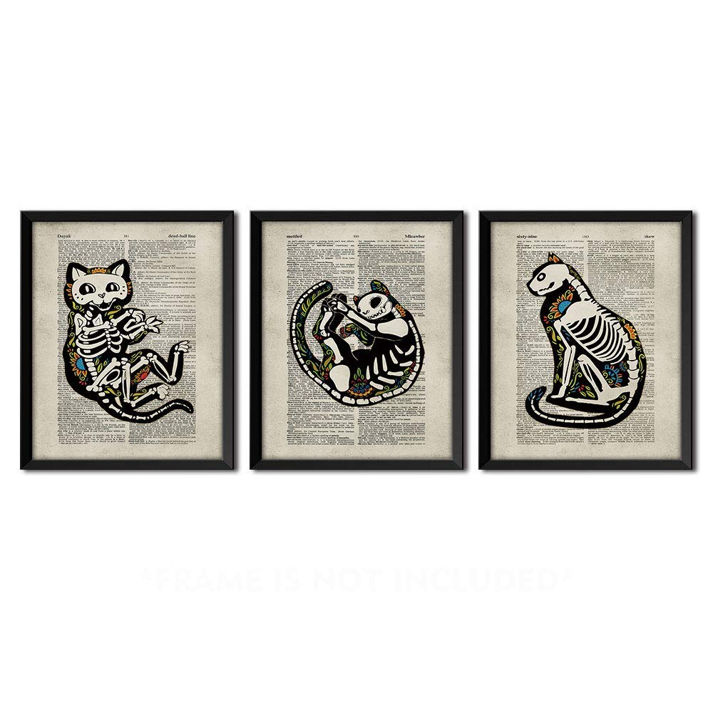 Takfot Unframed Sugar Skull Cat Poster Animal Prints Vintage Dictionary Page Mexican Artwork Day of the Dead Halloween Decor for Living Room Bedroom Bathroom 8x10 Inch, 3 Panels