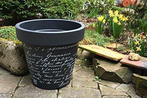Blumentopf Blumenkübel Pflanzentopf Pflanzenkübel Modell Old Letter - Kunststoff - anthrazit - verschiedene Größen (ø - 35 cm)
