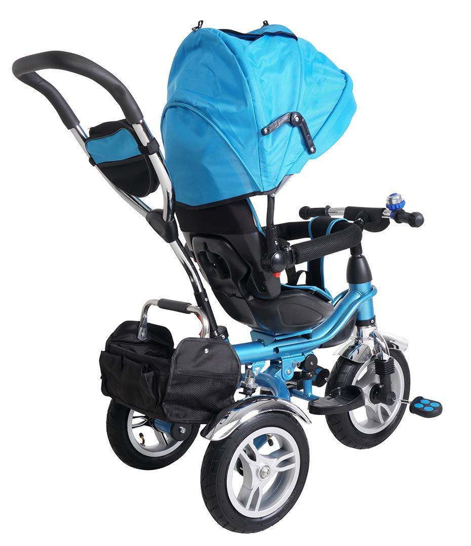 Heckfederung Laufrad Ab 1 Jahr Dreirad Schubstange 360/° Drehbar KS07 Blau Luftreifen Miweba Kinderdreirad Schieber 7 in 1 Kinderwagen