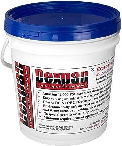 Dexpan Expansive Demolition Grout 44 Lb. Bucket for Rock Breaking, Concrete Cutting, Excavating. Alternative to Demolition Jack Hammer Breaker, Jackhammer, Concrete Saw, Rock Drill (DEXPAN44BKT3)