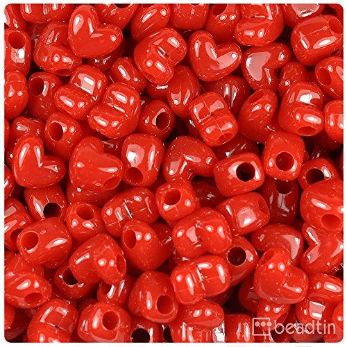 Red Heart Beads - BeadTin Red 12mm Heart Pony Beads w/Horizontal Holes (250pcs)