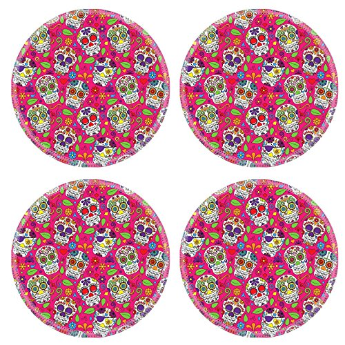 Images Of Day Of The Dead Costumes (Luxlady Natural Rubber Round Coasters IMAGE ID: 36626876 Day of the Dead Sugar Skull Seamless Vector Background)