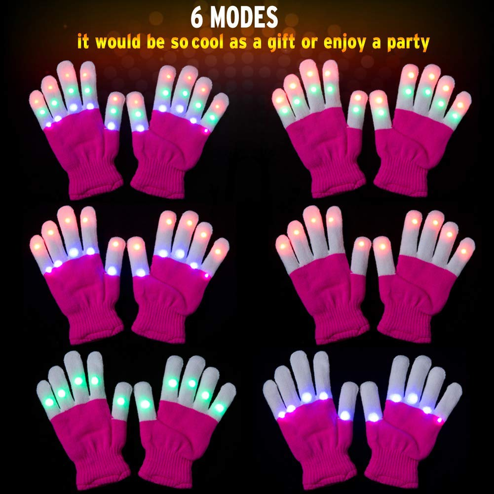 Children LED Finger Gloves, Ausein LED Flashing Light Gloves Colorful Glow Light Up Rave Gloves 3 Colors 6 Light Modes Flashing Novelty Toys for Kids with Extra Batteries, Pink