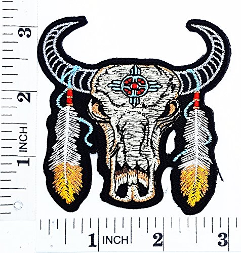 Buffalo Skull Patch With Feathers Cowboy Texas MC Biker patch patch Motorcyle Bike Novelty patch Symbol Jacket T-shirt Patch Sew Iron on Embroidered Sign Badge Costume