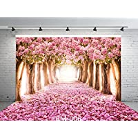 9x6ft Cherry Blossoms Street Seamless Poly Fabric Photo Backdrops Customized Studio Background Amazing Sakura Flower Road Studio Props RM-006