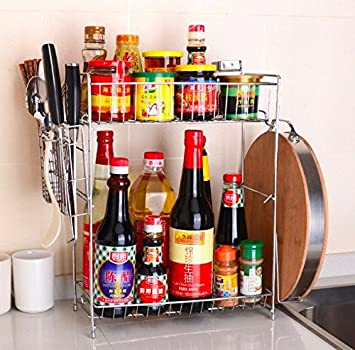 Homeself Multipurpose Stainless Steel Kitchen Organizer Holder Kitchen Rack  With Shelves,Bottle Racks,Tool
