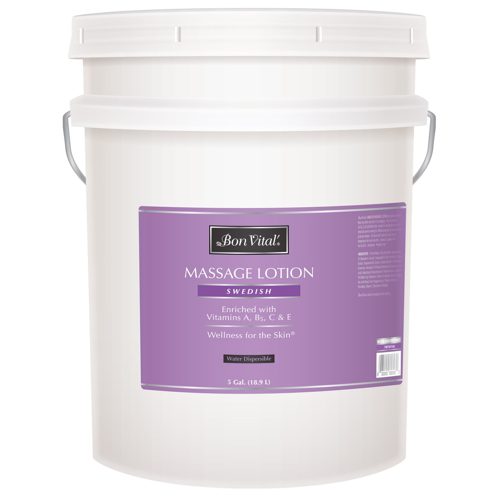 Bon Vital' Swedish Massage Lotion for Skin Tone Improvement, Dry Skin Repair, Increased Circulation, and Stress Relief, Great for Massage Therapists Who Perform Swedish and Sports Massages, 5 Gallon