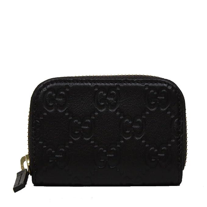 5e10f8e48b0385 Gucci Guccissima Leather Mini Wallet Zip Around Black 324801: Amazon ...