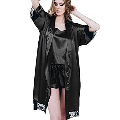 84ea4cb6219a Image Unavailable. Image not available for. Color: Hot Women Sexy Black  Silk Satin Kimono Robe Lace Lingerie Bodydoll Sleepwear