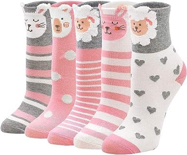ZFSOCK Calcetines Niña Calcetines de Algodón para Niños con Divertidos Estampados de Animales, 2-11 años, 20-34, Pack de 5 Pares: Amazon.es: Ropa y accesorios