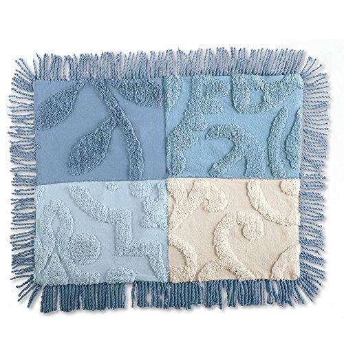 Collections Etc Blair Chenille Patchwork Pillow Sham, Blue, Sham
