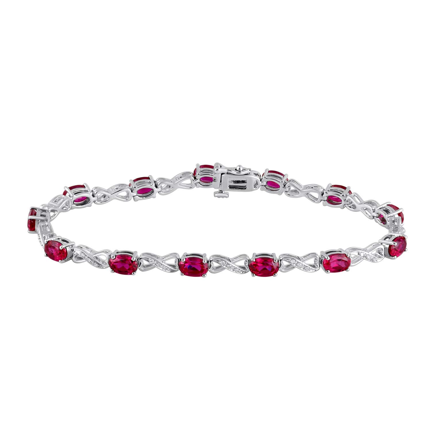 7.5 Inch Jewelili Sterling Silver 6x4mm Oval Created Ruby and 1//10cttw Round Natural White Diamond Infinity Bracelet