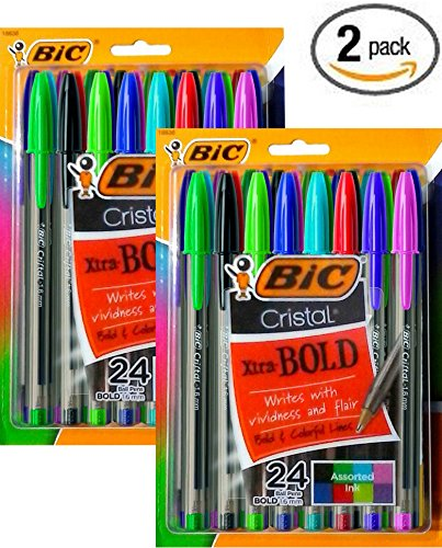Value Pack of 48 BIC® Cristal® Ballpoint Stick Pens, Bold Point, Assorted Fashion Colors,