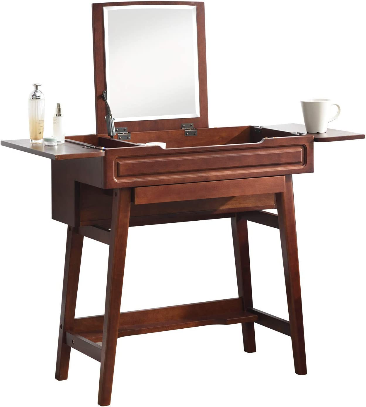 Vlush Vanity Makeup Table with Flip Top Mirror Solid Rubber Wood Dressing Table Writing Desk, 6 Organizers Makeup Accessories 1 Drawer, Coffee