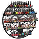 Round Tree Silhouette Design Wall Mounted Black Metal 5 Shelf Nail Salon Polish Storage Display Rack