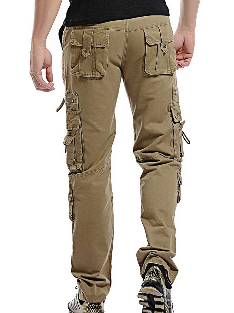 AKARMY Mens Cotton Multi Pockets Work Trousers Tactical Outdoor Military Army Wild Cargo Pants