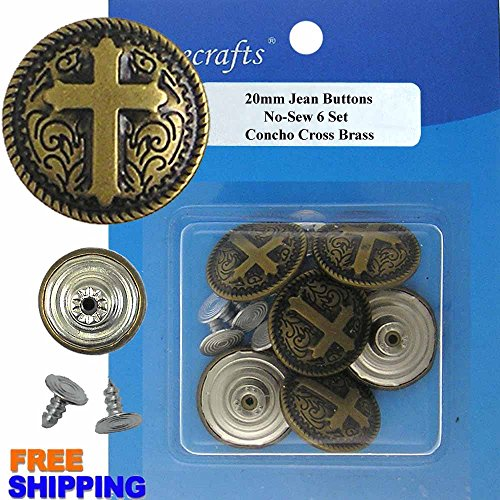 20 mm No-Sew Jean Tack Buttons Concho Cross Brass CT. 6 (Cross Concho)