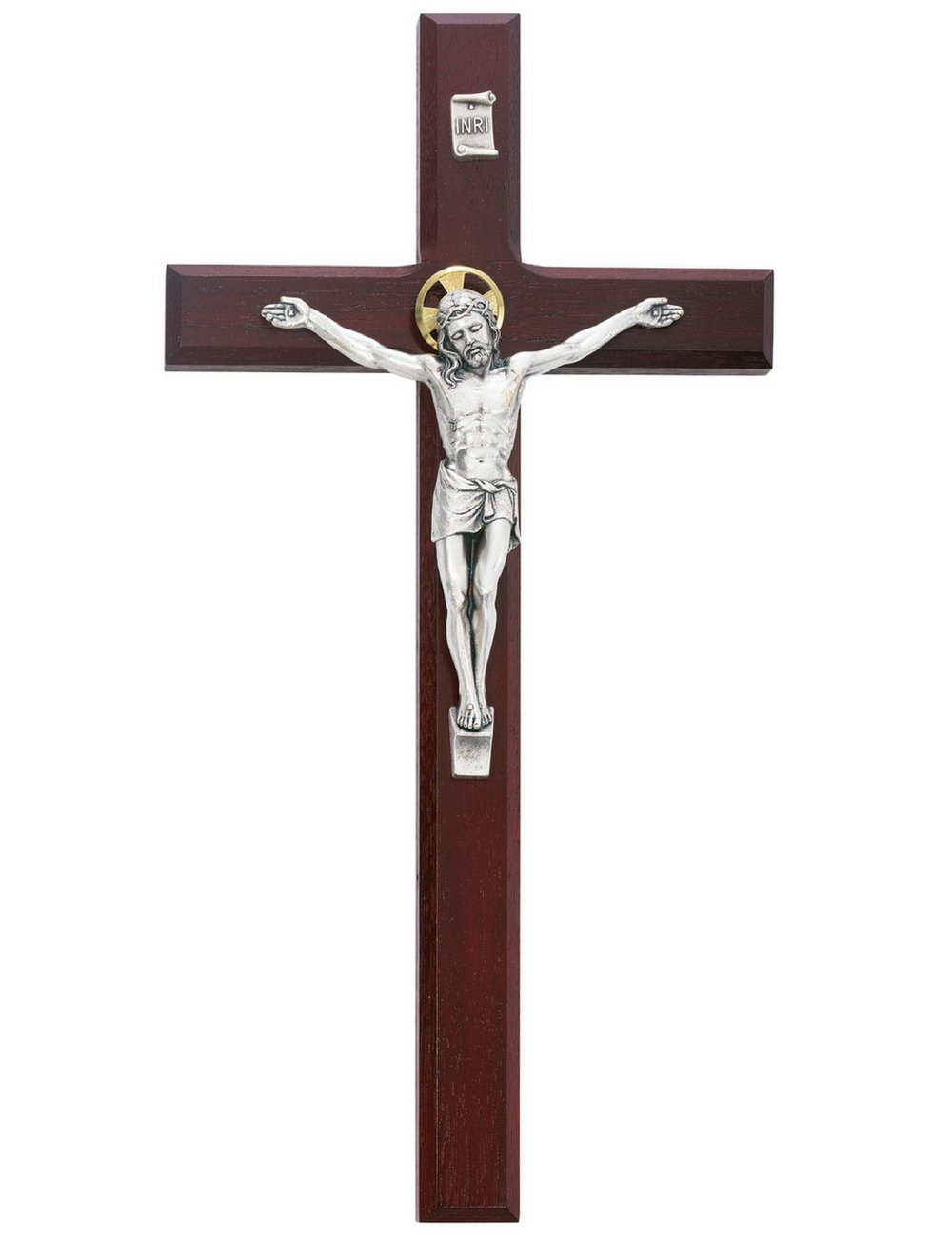 Beveled Cherry Wood Wall Crucifix Cross Silver Color Corpus Gold Color Halo 12 Inch