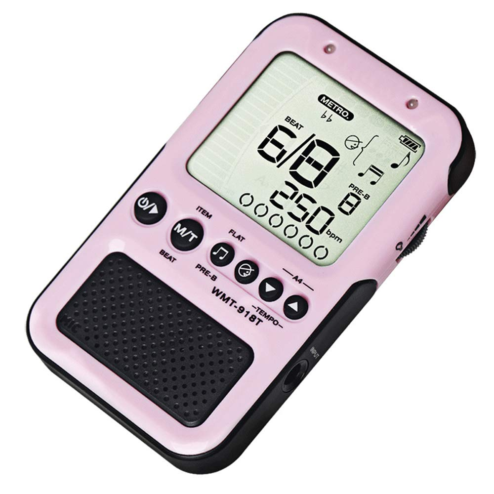 Electronic Metronome Tuner for All Instruments Vocal Shout Guitar Violin Piano Bass Ukulele Saxophone Clarinet Etc,Pink