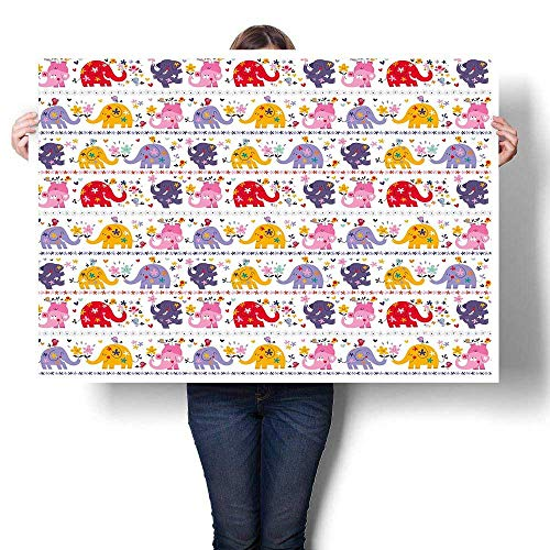 Kids Wall hangings Dancing Floral Elephant Characters Smiling Faces Colorful Daisies Happy Singing Birds Abstract Painting Multicolor 48