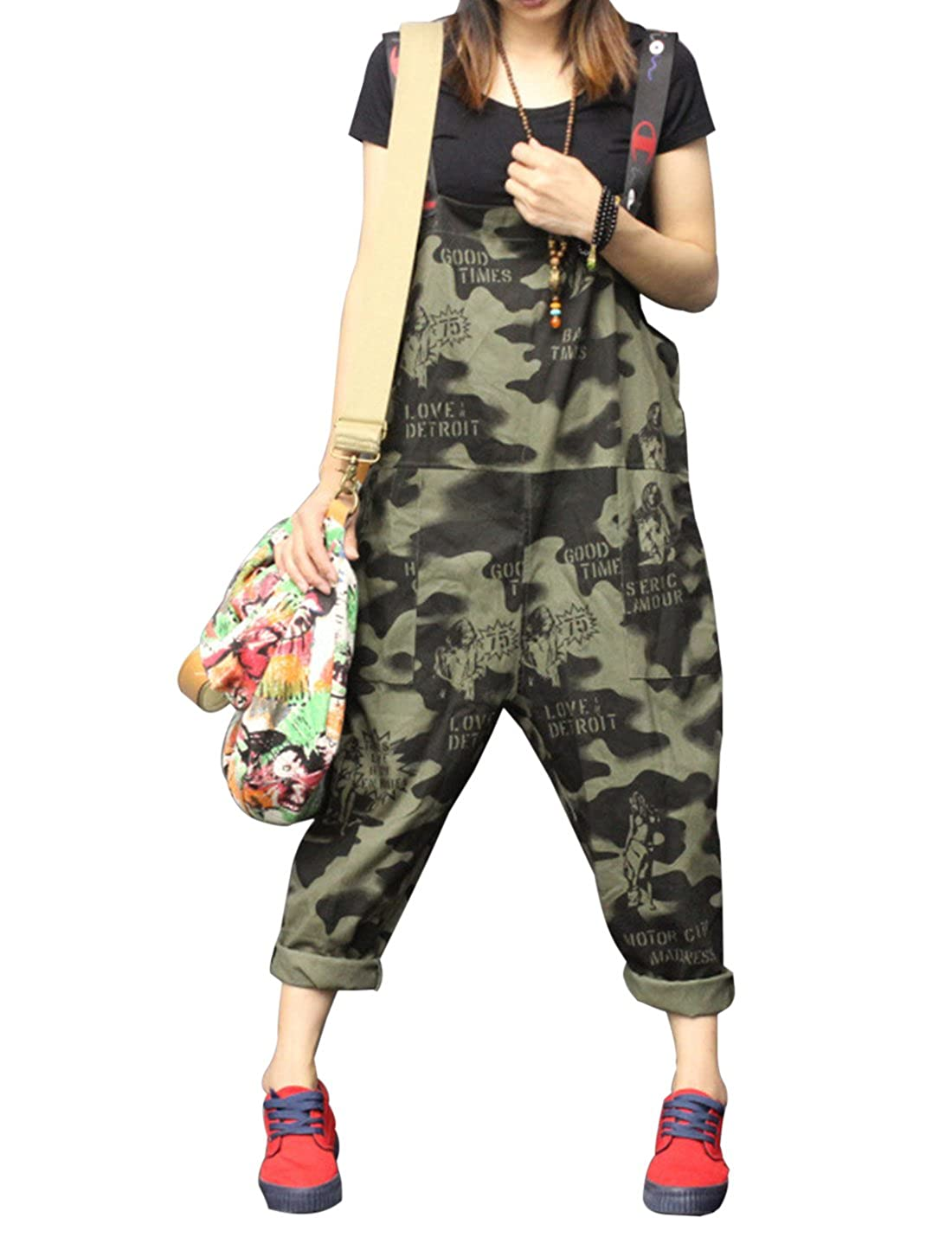 Gihuo Womens Denim Camo Rompers Low-Crotch Baggy Jumpsuits Overalls