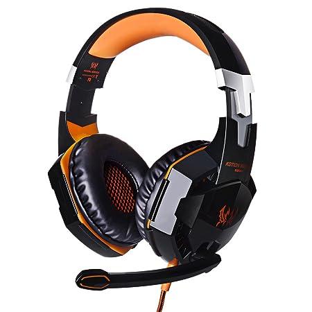 Kotion EACH G2000 Over-Ear-Gaming-Kopfhörer, Kopfband mit Mikrofon, Stereo, Bass, LED-Licht für PC orange rot