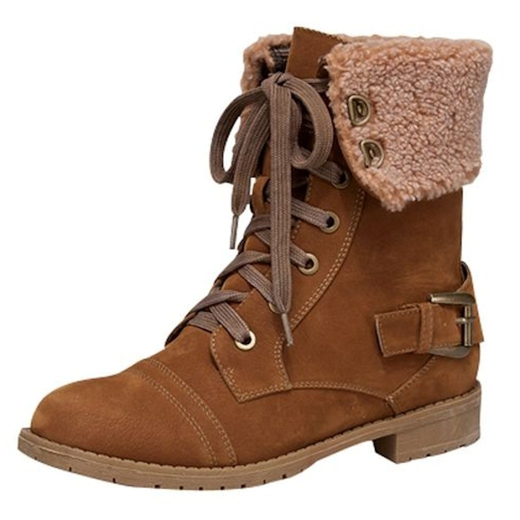 AL-5K Lucky Top Girls Suede Combat Lace Up Boots with Sherling Accent