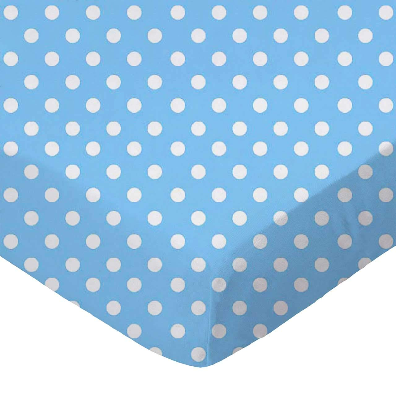 Pindots Grey Woven Made in USA 24 x 38 x 5.5 SheetWorld 100/% Cotton Percale Extra Deep Fitted Portable Mini Crib Sheet
