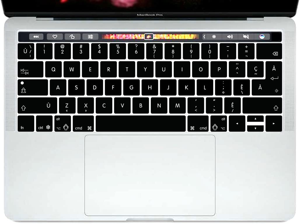 HRH Canadian French Language Silicone Keyboard Cover Skin for MacBook Pro with Touch Bar 13 Inch and 15 Inch (A1989/A1706/A2159,A1990/A1707)2019 2018 2016 2017 Release with Touch ID,Both European/USA