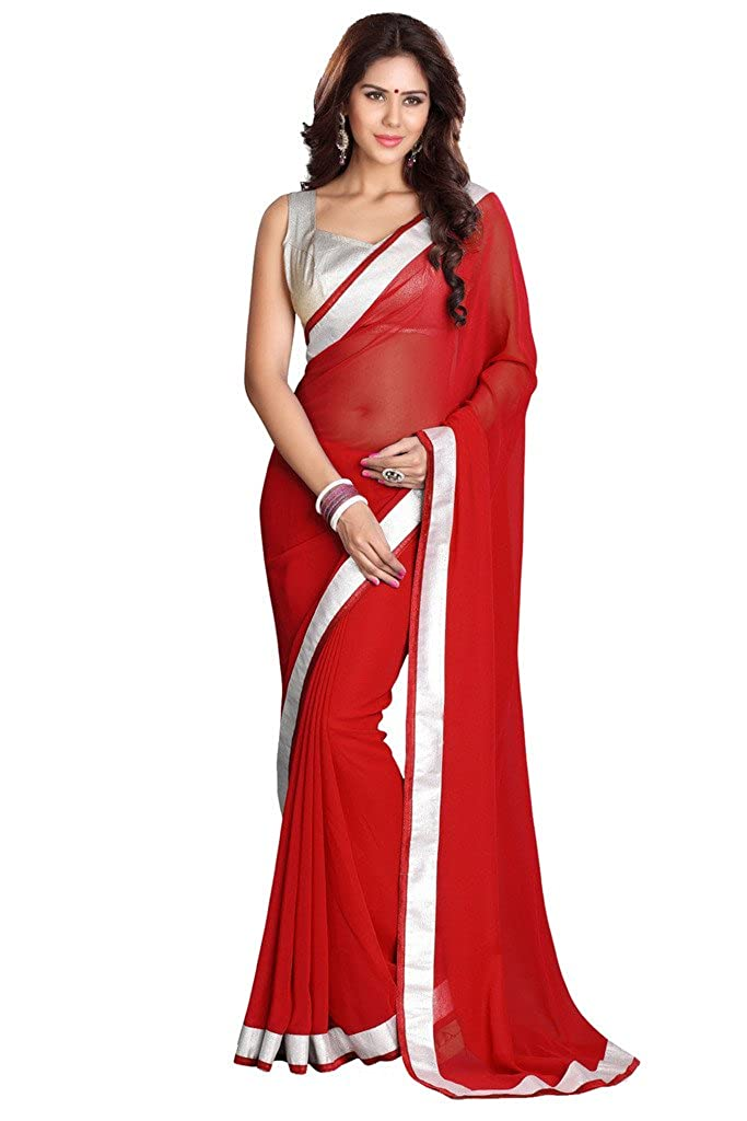 Sourbh Mirchi Fashion Women's Georgette Lace Work Wedding Partywear Indian Saree