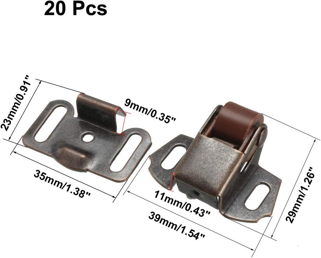 uxcell/® Retro Cabinet Wardrobe Door Single Roller Catch Ball Latch Hardware Copper Tone 20pcs