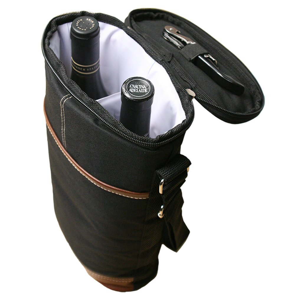 Thermal Insulated Interior with Collapsible Divider Holds Two Bottles