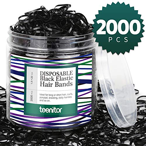 Teenitor 2000pcs Mini Black Hair Elastics, Goody Hair Elastics Baby Rubber Bands, Polybands Hair Ties for Baby Girls, Black, 2mm Width -