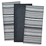 DII Cotton Pre Shrunk Urban Stripe Dish Towels, 20x30'' Set of 3, Modern Design Kitchen Towels for Cooking and Baking-Black